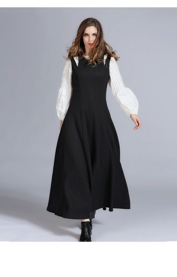 Maxi Black Dress, Black Wool Dress,  Wool Maxi Dress, 100% Cashmere Dress, Black cocktail dress, little black dress, halter dress, black