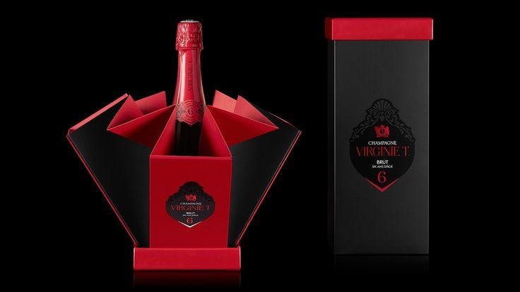 Специалисты из парижской студии 2S Global Design разработали конструкцию упаковки и создали дизайн оформления для шампанского VIRGINIE T.  Оригинальная коробка для упаковки бутылки шампанского VIRGINIE T при распаковке превращается в ведро для шампанского, в которое засыпается лед, картон выдерживает несколько часов в ледяной воде. Надпись VIRGINIE T на этикетке нанесена термохромными чернилами, которые меняют цвет от белого до красного, как только температура достигает 8° С…