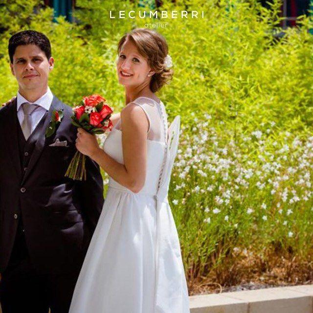 LECUMBERRI atelier Vestido de satén y tul de seda con lazo en la espalda.  Fotografía de @rafaelpalaciofotografo  #lecumberriatelier #lecumberrinovias #novia #novias #novias2016 #wedding #weddingdress #vestidodenovia #boda #bodas #bodas2016