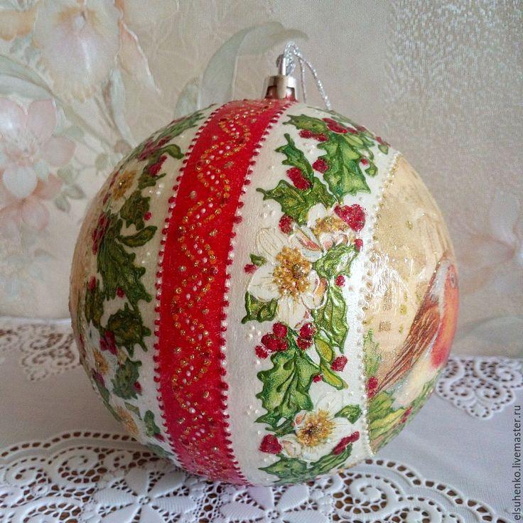 Купить или заказать Новогодний шар 'Зимние птицы' в интернет-магазине на Ярмарке Мастеров.