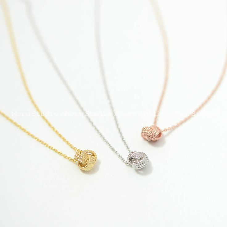 Dainty Knot Ball Necklace with Initial Disc/ Personalized Love Knot Ball, Bridesmaid Necklace, BFF Necklace, Wedding Gift, Mom Daughter 159 by MoruStudio on Etsy
