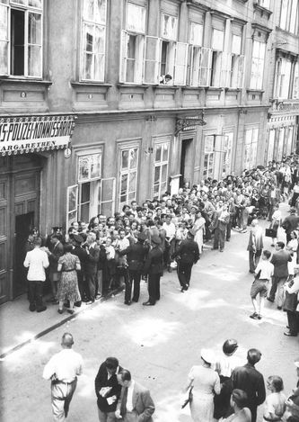 Vienna, Austria, Jews queuing at the police station to register, March 1938. Failure of Jews to register meant death