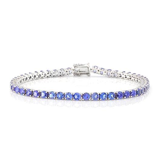 9 carat white gold tanzanite tennis bracelet