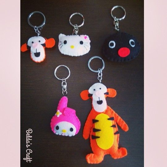 The keychain  My melody, tiger, pingu, hello kitty.  Luv 'em