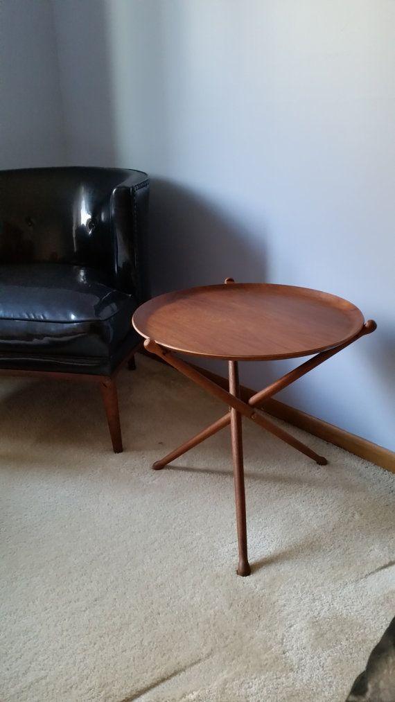 Reserved For Sharon MidCentury Teak Tripod Side Table Nils Trautner Swedish  Danish Modern End Table Ca