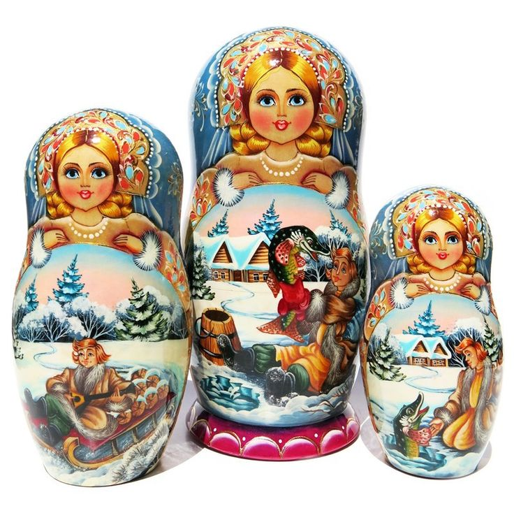 Winter scenes from At the Pike's Behest folk tale are painted on 7 pc Russian nesting doll set. One-of-a-kind masterpiece. Free shipping on US orders.