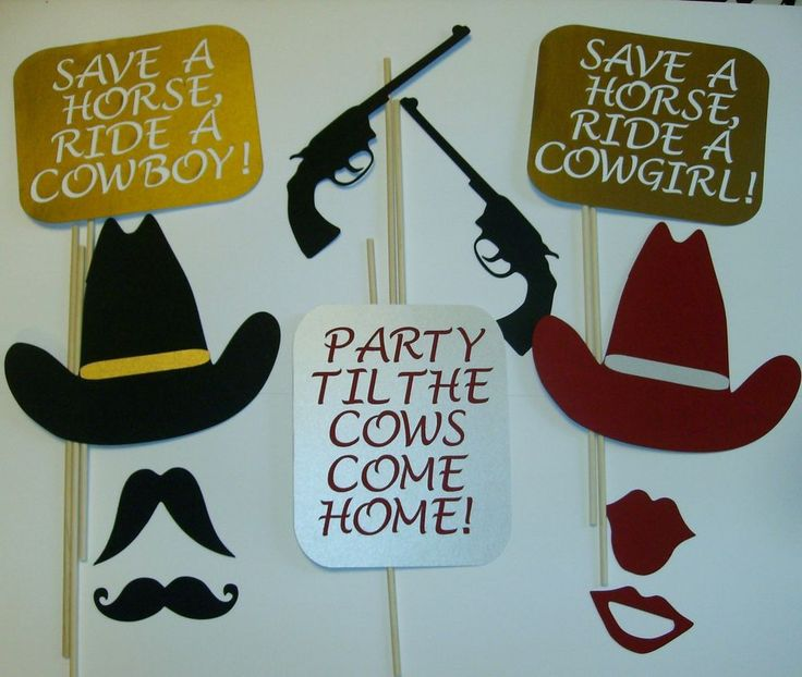 DIY- 14 Photo Booth Props Western  Mustache Cowboy Hats Whiskey Ride (2079D) #HandCrafted