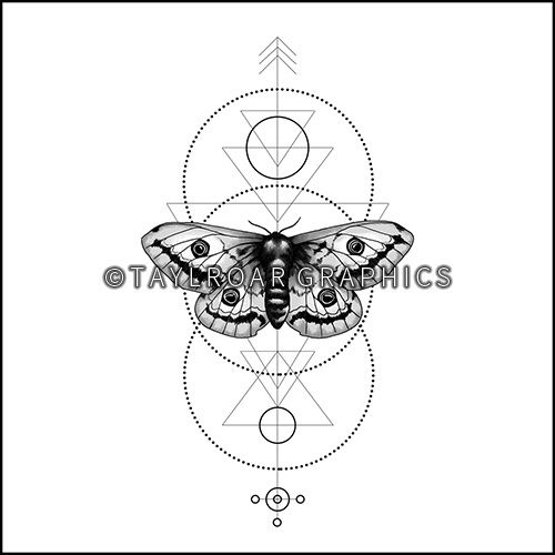 Moth with geometric background custom tattoo design. www.taylroargraphics.com
