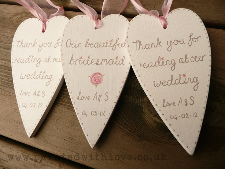Hand-painted personalised wooden hearts for bridesmaids and readers in vintage dusky pink and mocha to match wedding colours