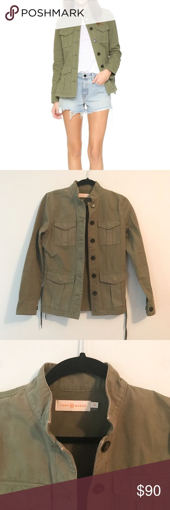 Tory Burch military jacket, size XS Green Military jacket from Tory Burch, size XS. 100% cotton. Lace-up sides for flattering fit. Band collar, button front. One button cuff. Very good used condition Tory Burch Jackets & Coats
