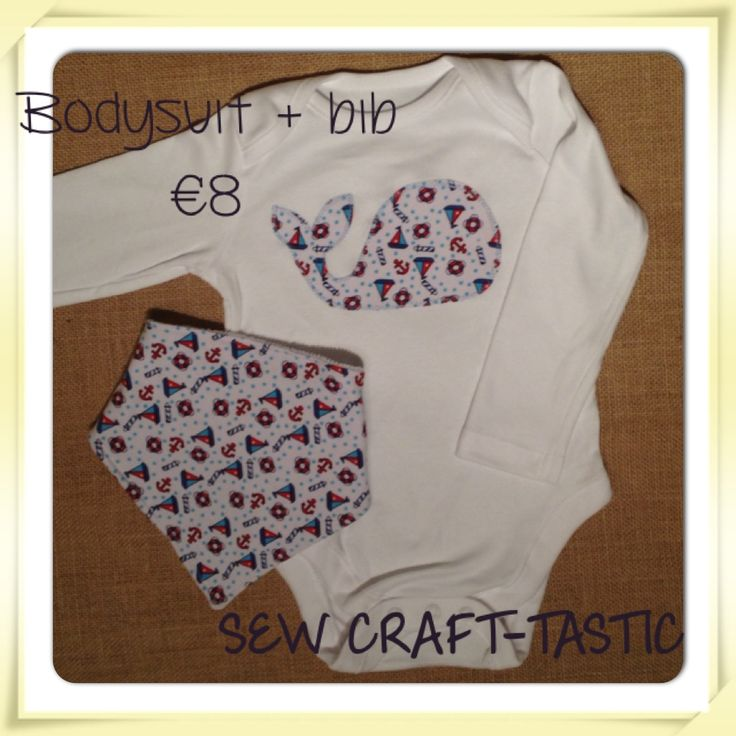 Little whale applique white cotton bodysuit with matching bandana bib in nautical jersey fabric.