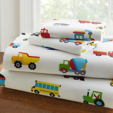 The 100% cotton T-210 percale TPT sheets are filled with a collection of colorful vehicles. Details & Features:Percale is a crisp fabric and has been the standard for quality sheets for many years…100% cottonCoordinates with Olive Kids comforters.Pattern Description:The craziest, cutest, traffic jam ever!  A best-selling design by Olive Kids, the Trains, Planes, & Trucks pattern makes creative use of bold primary colors.  The design's eclectic group of vehicles stand out delightfully from…