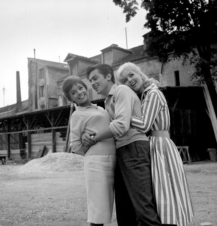 The ladies man with Mylène Demongeot and Pascale Petit on the set of one of his first movies, Faibles Femmes (1959)