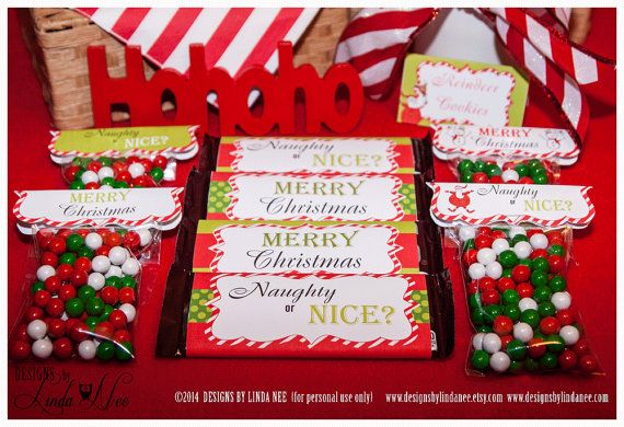 Christmas Treat Bag Toppers - Santa Christmas - Sandwich Ziplock Bag Topper 6.25 inch Digital Collage Sheet Printable Party Packages Candy  Santa Christmas Ziplock Bag Toppers! Go custom and be the hostess with the mostest!  These toppers are a fun and inexpensive treat for your