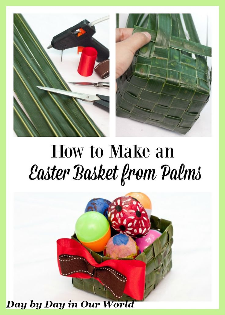 Learn how you can make an Easter Basket from palms or coconut leaves. Lent   Easter   Crafts   DIY via @LauraOinAK
