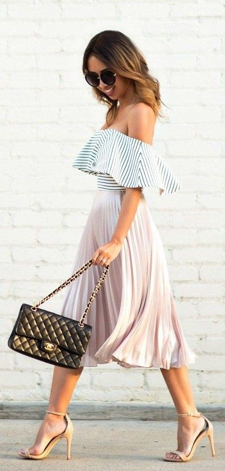 Striped Ruffle Striped Off Shoulder Top, Pleated Pink Midi Skirt, Black Bag Nude Ankle Strap Heels | Lace & Locks