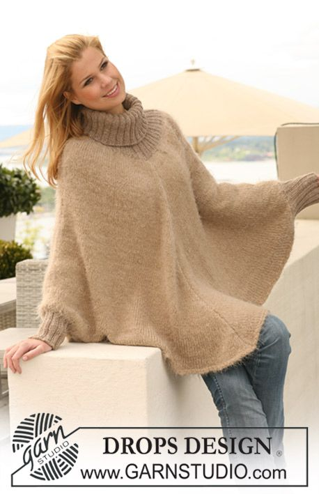 """Knitted DROPS poncho in 1 strand """"Symphony"""" or 1 strand """"Brushed Alpaca"""" + 1 strand """"Alpaca"""" with rib in """"Alpaca"""". Size S to XXXL. ~ DROPS Design"""