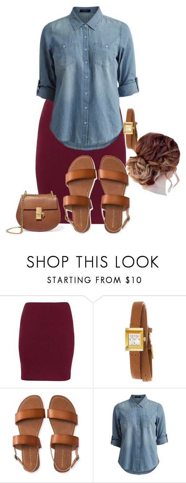 """Apostolic Fashions #1775"" by apostolicfashions ❤ liked on Polyvore featuring Gucci, Aéropostale, Vila Milano and Chloé"