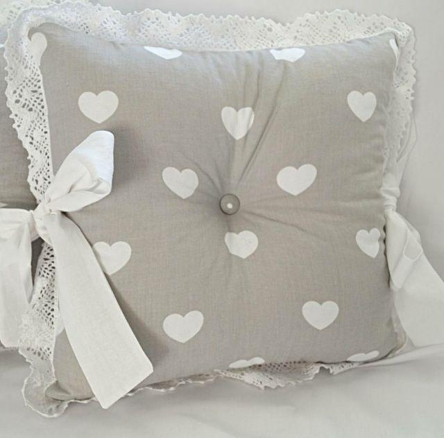 Ткань польская, 100% хлопок Арт №90 «Белые сердечки на сером»