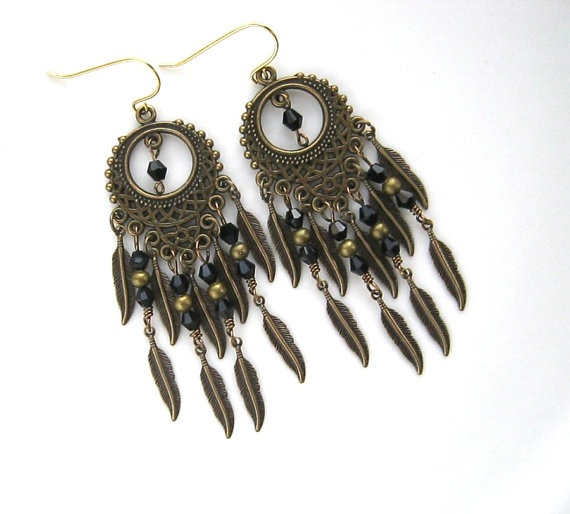 Black chandelier earrings black crystal and brass feather chandelier