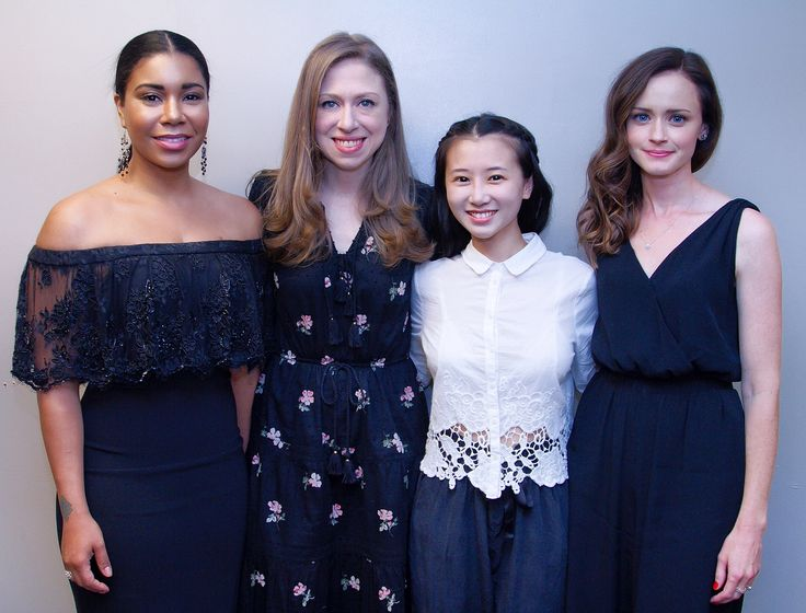 Jessica Pimentel, Chelsea Clinton, Annie, and Alexis Bledel at the Upright Citizens Brigade event.