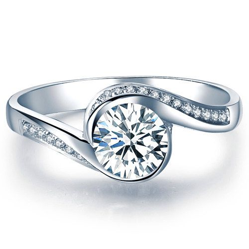 Beautiful diamond engagement ring is handcrafted from 14k white, yellow or rose gold, set with a beautiful natural round brilliant cut sparkling white