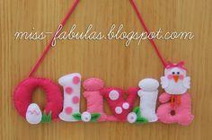 Baby name felt chick - Nombre bebe con pollito en fieltro CONTACT: carmenmissfabulas@gmail.com