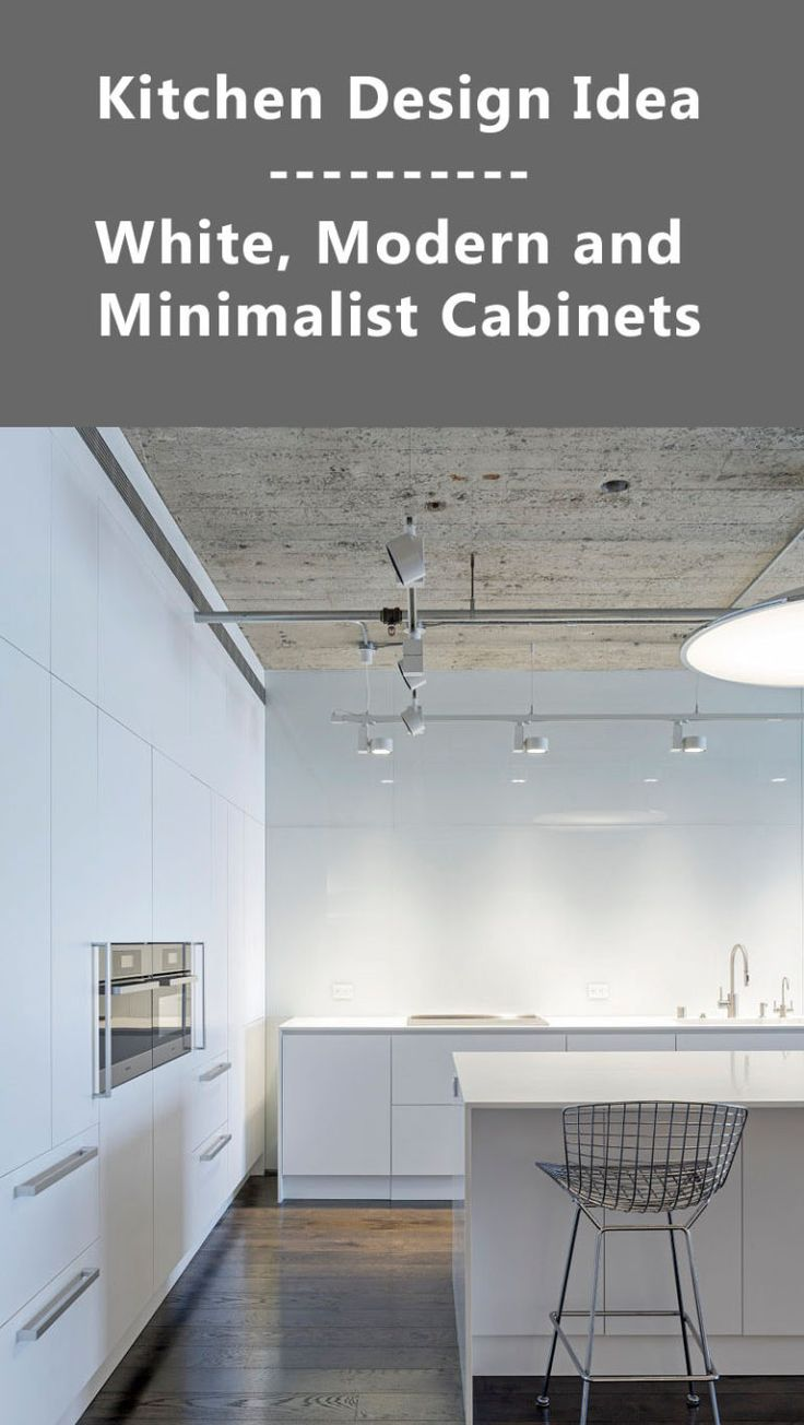 Kitchen Design Ideas - White, Modern and Minimalist Cabinets