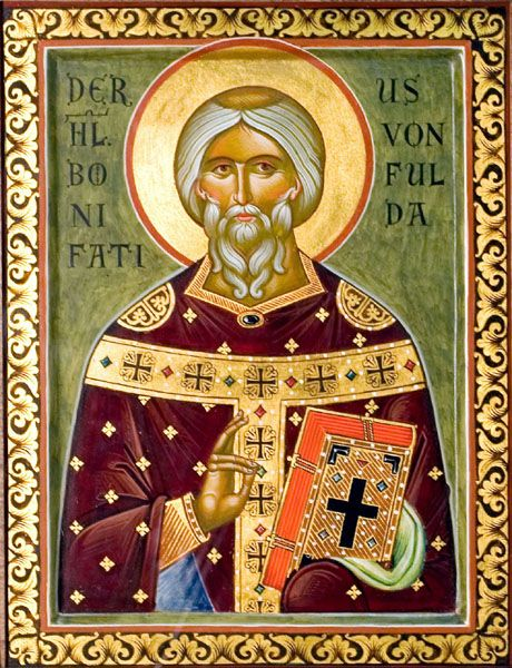"Icon of St. Boniface the Apostle of Germany, also known as ""Winfred"""