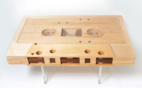 For music lovers.Cool! Mixtape Table by Jeff Skierka: Mixtape Tables, Coffee Tables, Living Rooms, Jeff Skierka, Cassette Tape, Memorial Tables, Music Rooms, Wooden Tables, Design