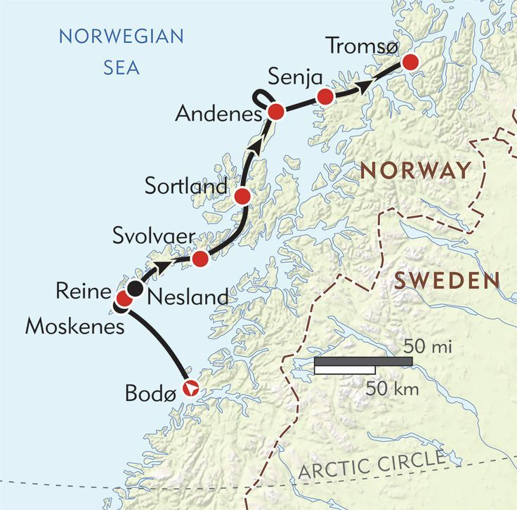 Lofoten Islands Map Northern Norway and the Lofoten Islands route map | Europe