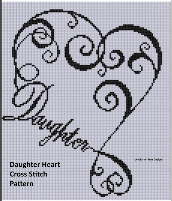 Daughter Heart Cross Stitch Pattern by MotherBeeDesigns on Etsy