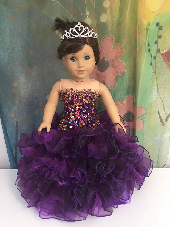 d70498bcbee Reserved  American Girl Custom OOAK Purple Princess Quinceanera Dress Set