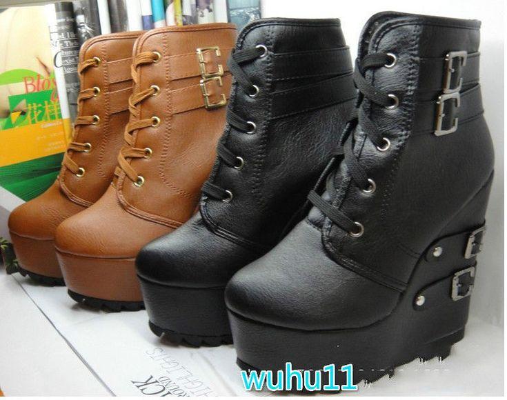 GOTH WOMEN LACE UP MULTI BUCKLE WEDGE HIGH HEELS SUPER PLATFORM ANKLE BOOTS SHOE   Одежда, обувь и аксессуары, Женская обувь, Ботинки   eBay!