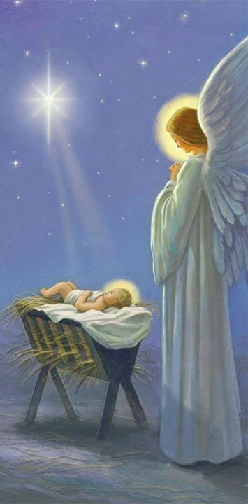 Jesus Cristo na manjedoura em obeservação de um anjo                                                                                                                                                                                 Mais