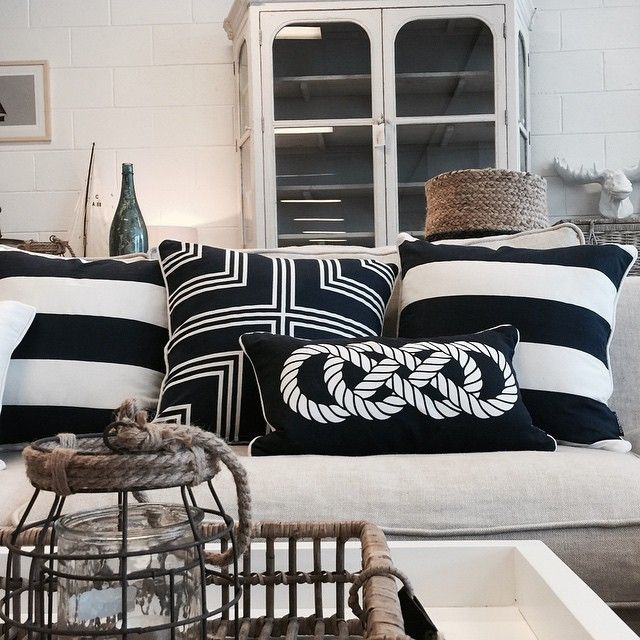 I love navy and white....such a classic look #cabin_co #cushions #interiors #interiordesign #instagraminteriors #thebeachfurniture #stockist #visit #qld #navy #white