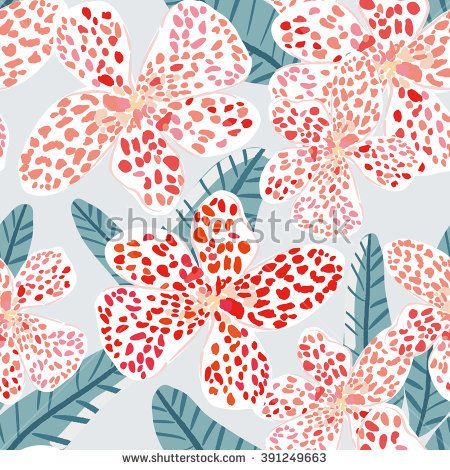 Tropical spotted flower with leaves on the light background. Vector seamless pattern with exotic plant. Pale colors.