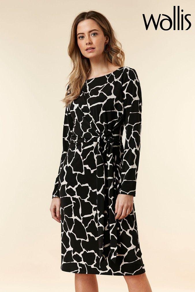Womens Wallis Black Petite Giraffe Print Dress Black Giraffe Print Dress Print Dress Dresses