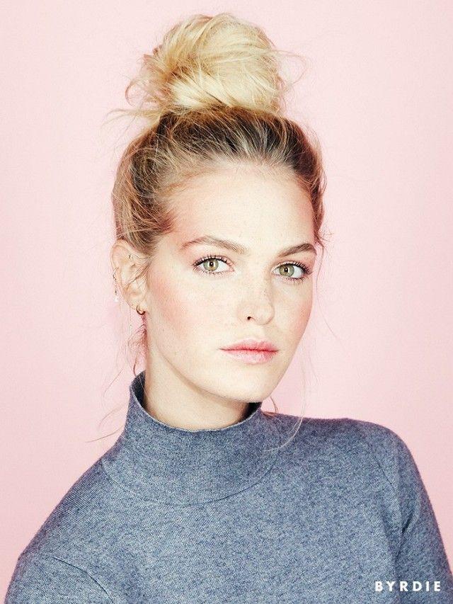 Erin Heatherton models a cool-girl ballerina bun and beautiful rosy cheeks