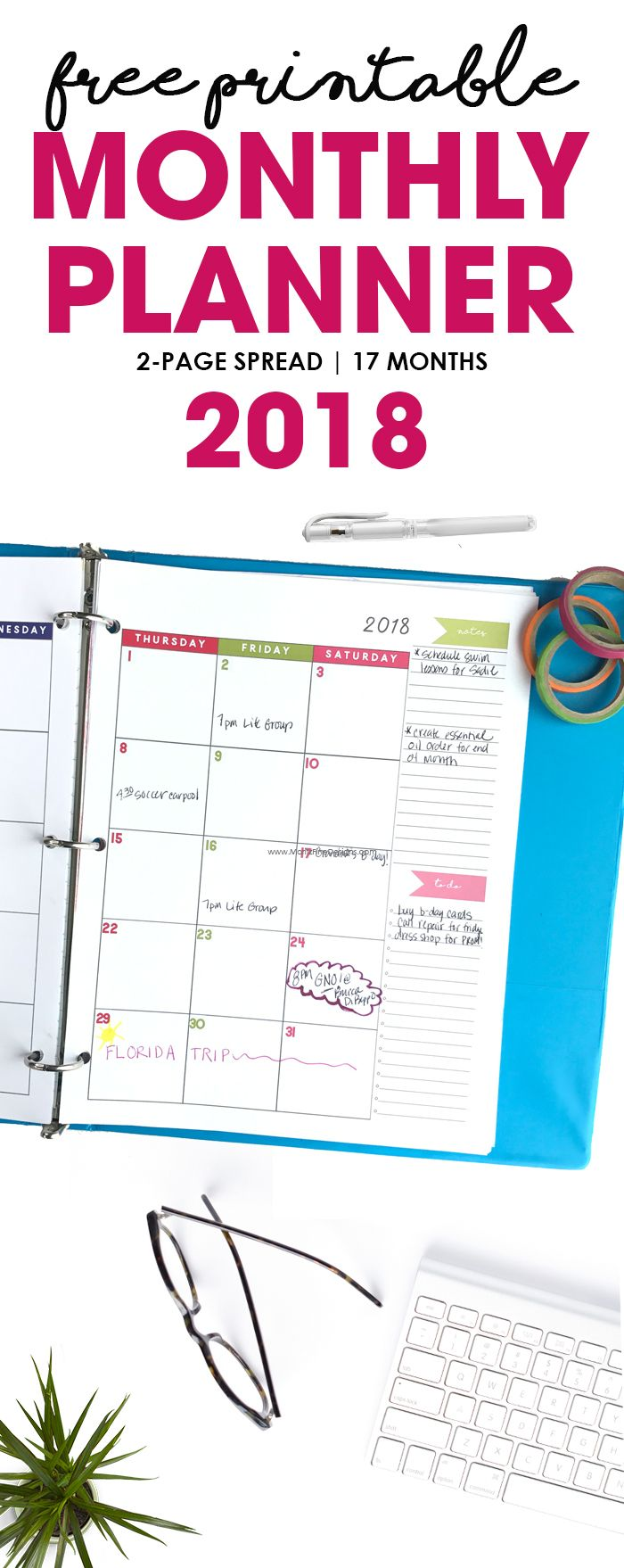 The free printable 2018 Monthly Planner Calendar is a simple 2-page spread that offers plenty of writing space and a section for notes and a to-do list. Easy to download and print at home ! #freeprintablecalendar #2018monthlyplanner #calendarideas #calendarprintables2018 via @moritzdesigns