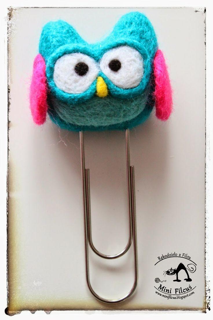 Owl - felted clip (big) http://minifilcus.blogspot.com/2014/04/ach-te-sowki-filcowe-spinacze-moze.html