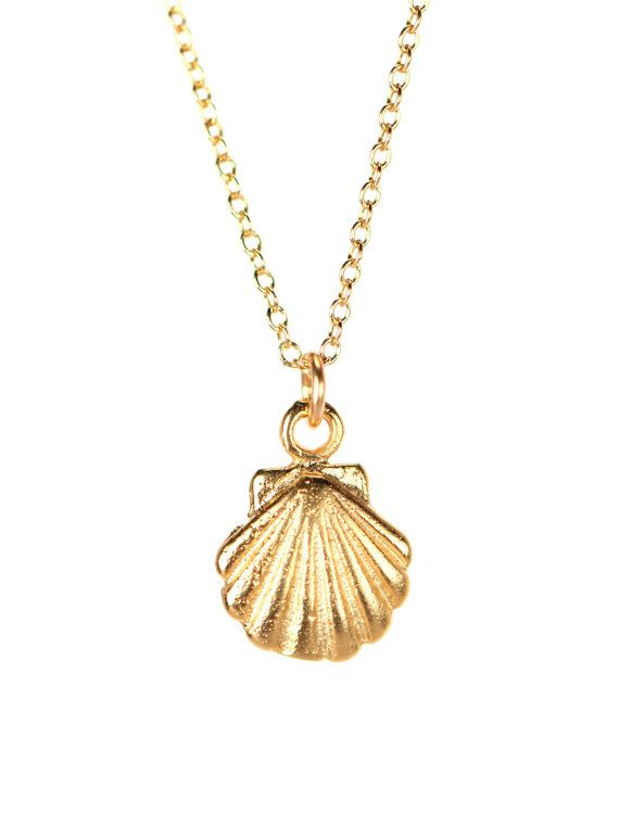 Tiny shell necklace gold shell necklace sea shell by BubuRuby