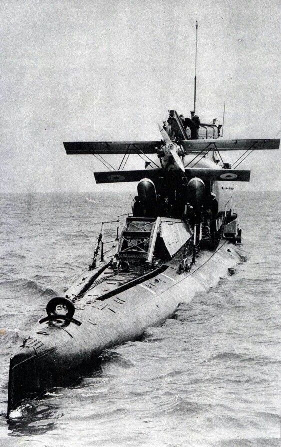 World's first submarine aircraft carrier. HMS M2 Royal Navy submarine completed in 1919. Converted in 1927 to carry the plane.