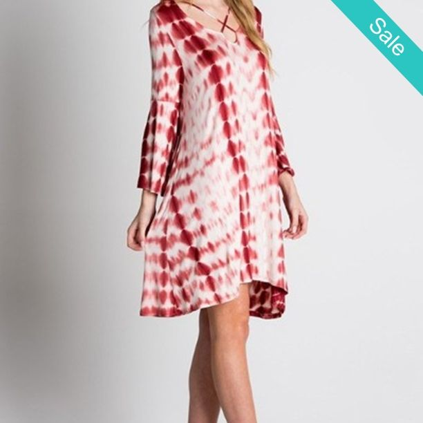 IN STORE Red Marsala Tie Dye Criss Cross Shift Dress - A must have for transitional weather. In Stock now. Ships immediately - On Sale for $45.00 (was $55.00) Wednesday Hump Day Specials ~ Clothing: 30% off ~ Name Brands 20% off ~ Lori Snyder Jewelry 20% off  ~ 50-60% off Winter Rack!