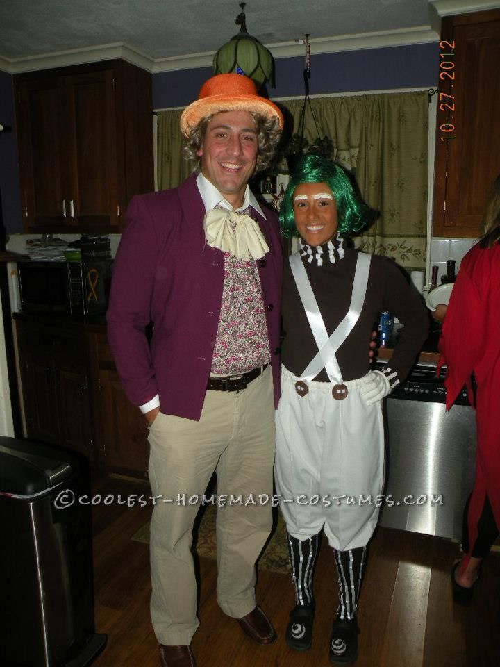 Great Homemade Halloween Couples Costume: Willy Wonka and Oompa Loompa... Coolest Homemade Costumes
