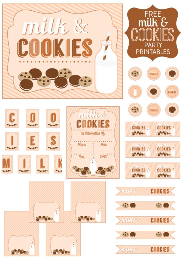 Free Milk and Cookies Party Printables, perfect for a girl birthday or baby shower! See more free printables and party ideas at CatchMyParty.com #freeprintables #milkandcookies