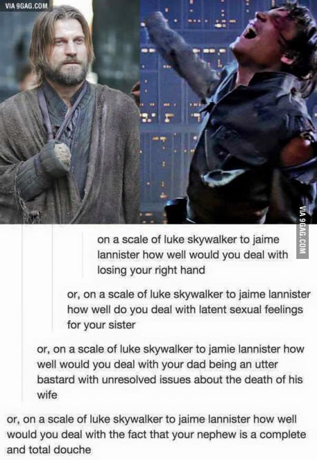 On a scale of Luke Skywalker to Jaime Lannister...