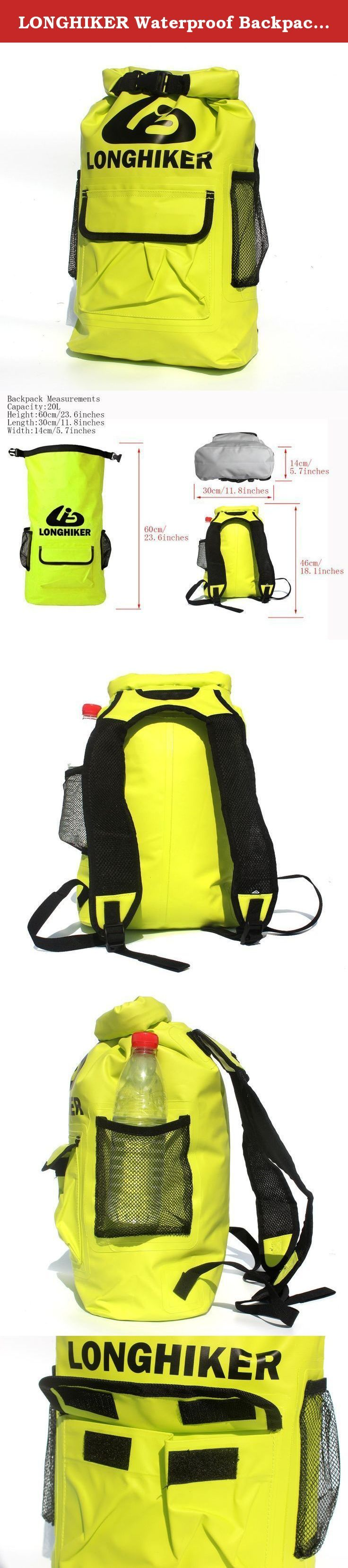 """LONGHIKER Waterproof Backpack Dry Bag -Padded Shoulder Straps-Mesh Side Pockets-Front Pocket.Safety Float for Open Water Swimmers Triathletes Kayakers and Snorkelers (Bright Yellow, 20L). LONGHIKER Young Men's """"Surf stash"""" roll top sealable dry bag with a large main compartment, 3 exterior storage pockets, adjustable external gear straps, 1 interior zip mesh pockets for organization, and padded shoulder straps. Keep your gear dry on the water with this LONGHIKER Waterproof Backpack..."""