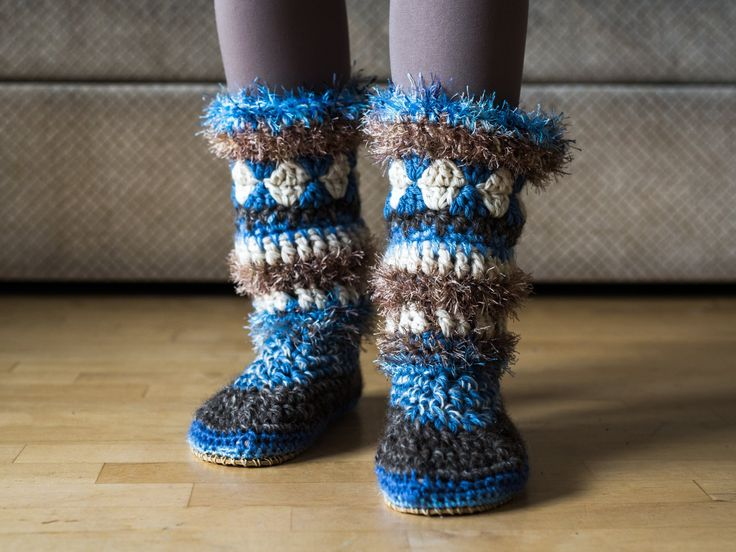 Fuzzy slipper boots with rubber soles by MakabakaFootwear on Etsy