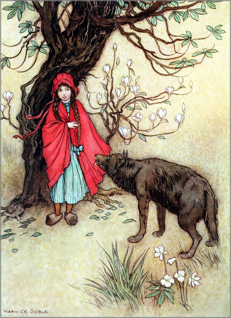 "Art by Warwick Goble (c 1913) from THE FAIRY BOOK - The Best Popular Fairy Stories.  ""Little Red Riding Hood.""  Source: http://archive.org/details/fairybookbestpop00crai02"